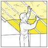 Antackern der Klimamembran oder Dampfbremsfolie an die Dachsparren
