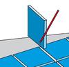 Bei schrägen Endstücken lange Seite auf Fliese übertragen