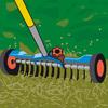 Rasen mit dem Vertikutier-Rechen bearbeiten