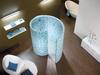 Blau gemusterte Schnecken-Dusche