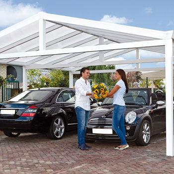 Gardendreams Doppel-Satteldach-Carport 615 x 600 cm weiß
