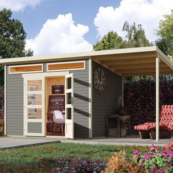 Wolff Finnhaus Gartenhaus Venlo C mit Anbaubdach