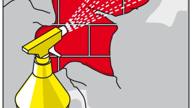 Putzkrümel entfernen und Wandfläche anfeuchten
