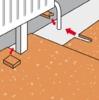 Ein Streifen bei Heizkörperrohren ausschneiden und hinten wieder einsetzen