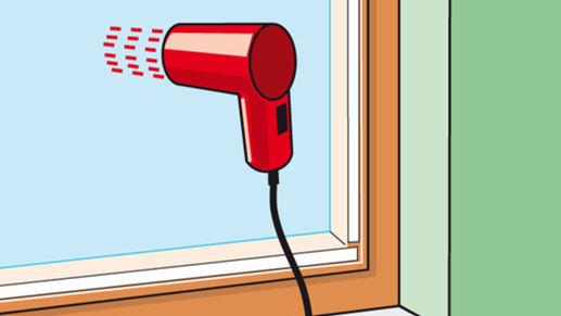 Mit Heissluftfön Fenster-Folie glätten