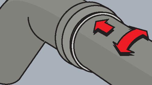 Rohr bis zum Anschlag in das Verbindungsteil einschieben