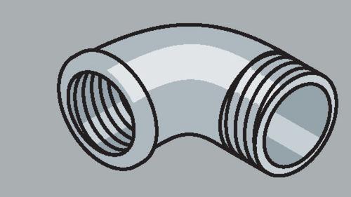 Stahlrohr-Fitting 90° Winkel mit Außengewinde