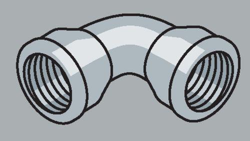 Stahlrohr-Fitting 90° Bogen