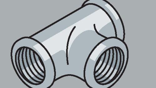 Stahlrohr-Fitting 90° T-Stück