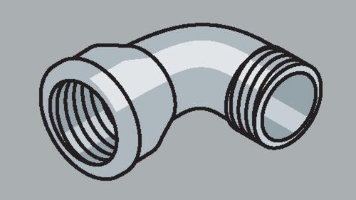 Stahlrohr-Fitting 90° Bogen mit Außengewinde