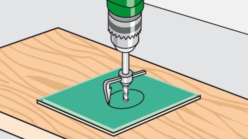 Löcher bis zu 90 mm können mit Vorsicht gebohrt werden