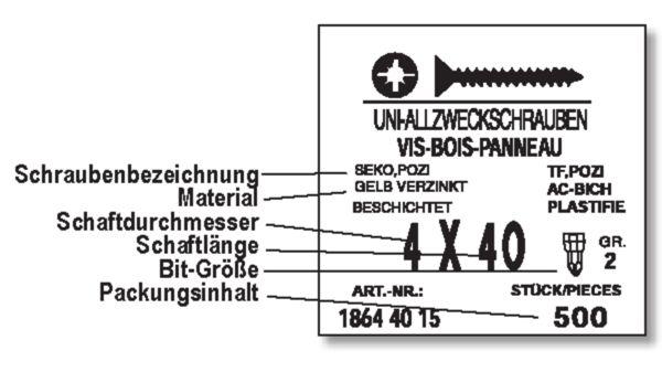 Schrauben-Spezifikationen