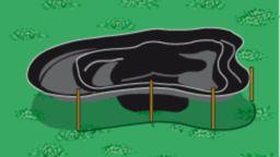 Form des Fertigteiches auf Boden übertragen