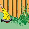 Schwierige Rasenstellen mit dem Rasentrimmer bearbeiten