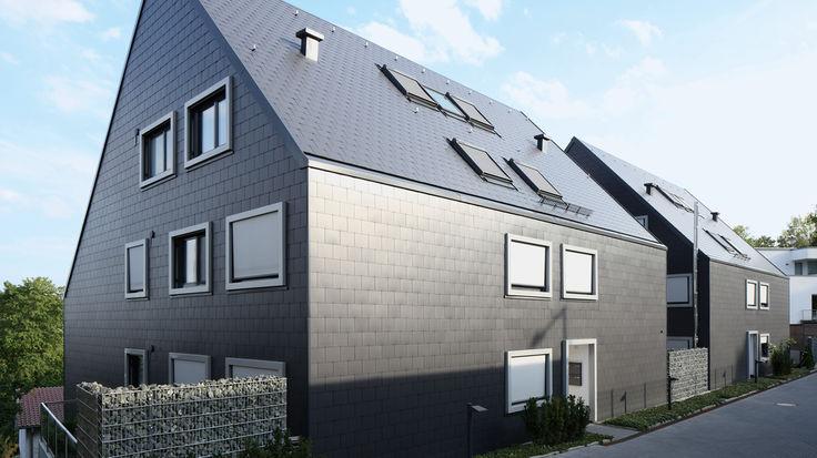 Haus mit grauer Rundum-Fassade