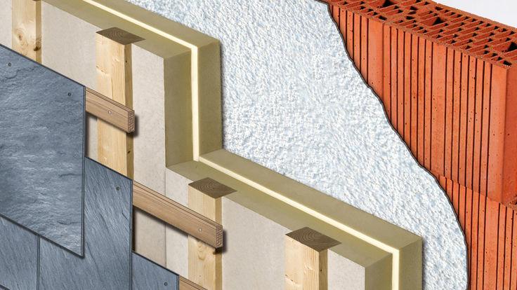 Fassade mit Waermeschutzsystem aus Polyurethan-Hartschaum-Elementen