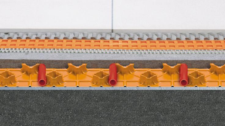 Fußbodenheizung Querschnitt hohe Estrichnoppenplatte