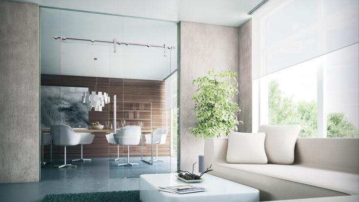 Raumtrennung durch Glaswand mit Schiebetuer
