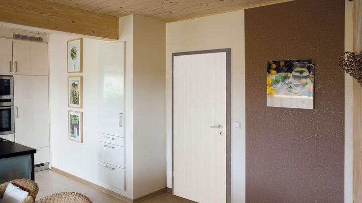 Raum mit Holzdecke und weißer Tuer