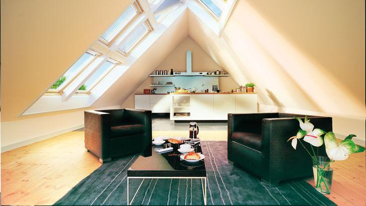Dachgeschoss mit großer Dachfensterfront