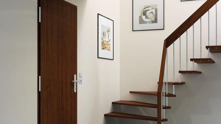 Braune Tuer neben Treppenaufgang