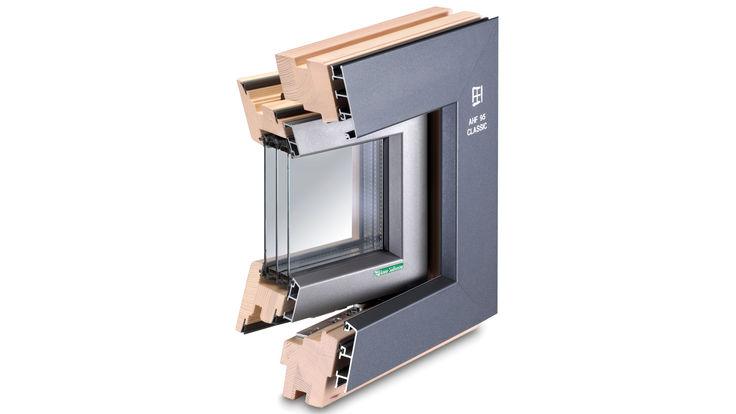 Aluminium-Holzrahmen Querschnitt 3-Fach Verglasung