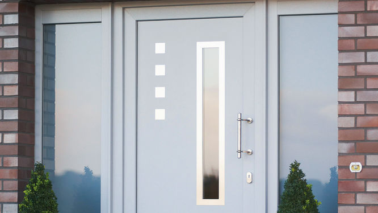 Weiße Eingangstür mit Glaselementen